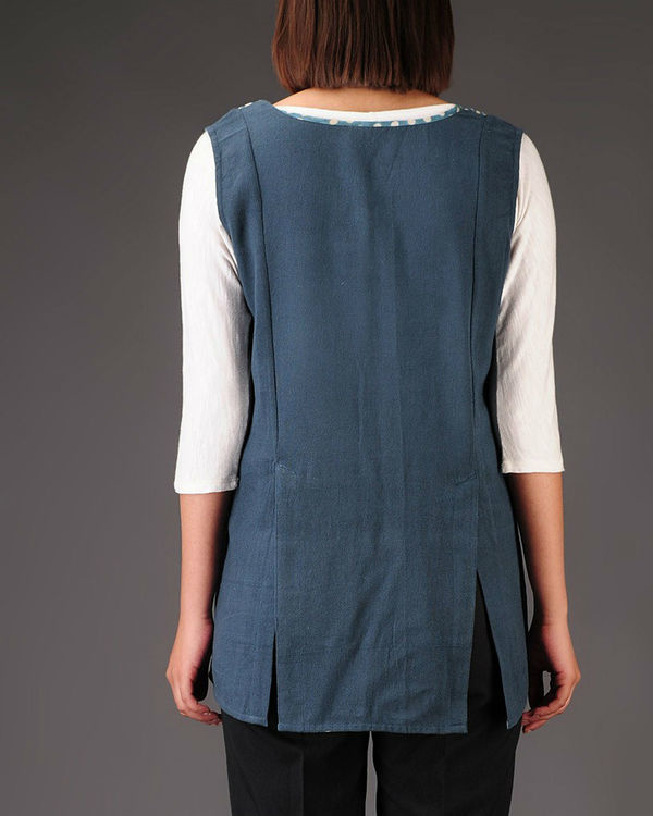 Blue khadi jacket 2
