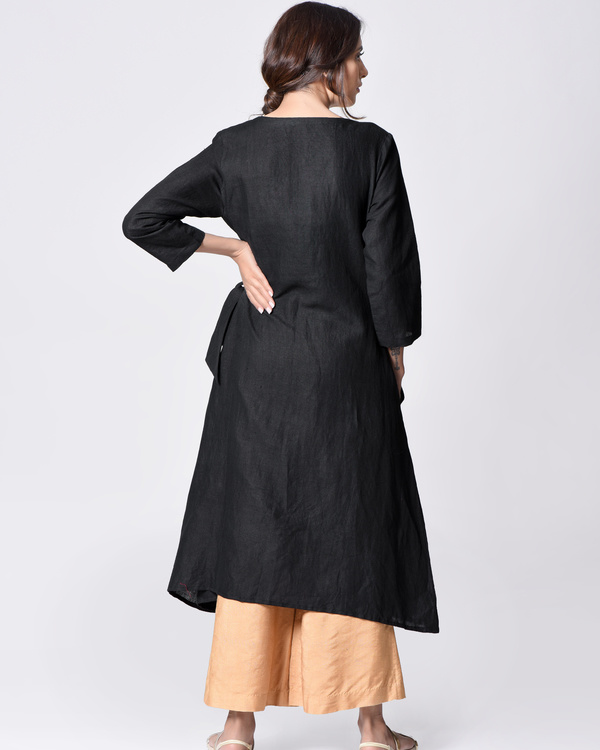Black embroidered wrap tunic 1