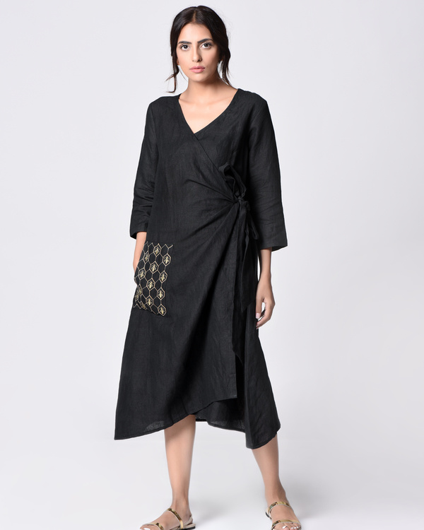 Black embroidered wrap tunic 2