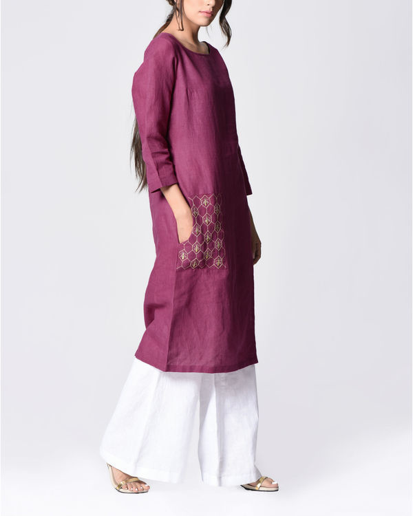 Plum embroidered tunic 1