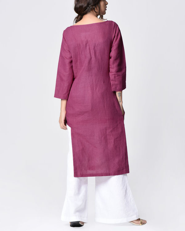 Plum embroidered tunic 2