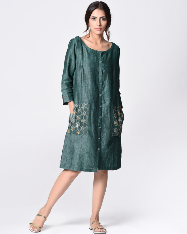 Teal embroidered tunic 3