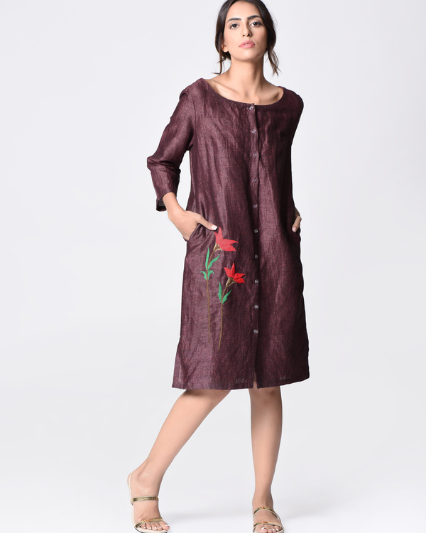 Purple embroidered tunic 3