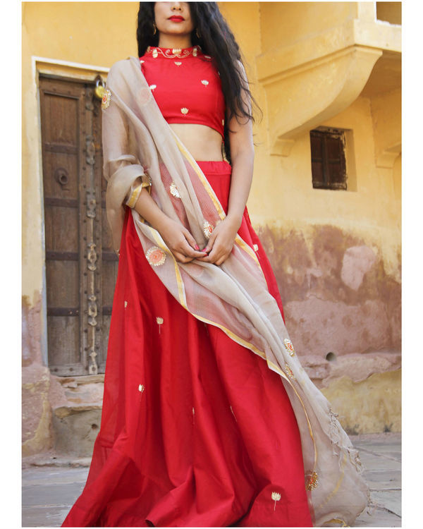 Red chanderi lehenga set 2