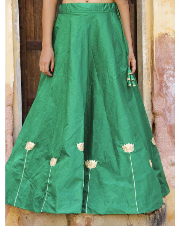 Green lotus lehenga set 3