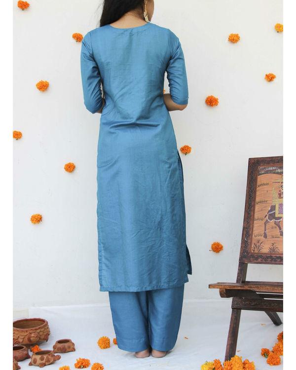 Turquoise silk suit set 2