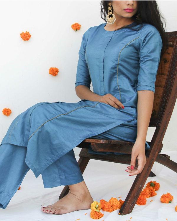 Turquoise silk suit set 3