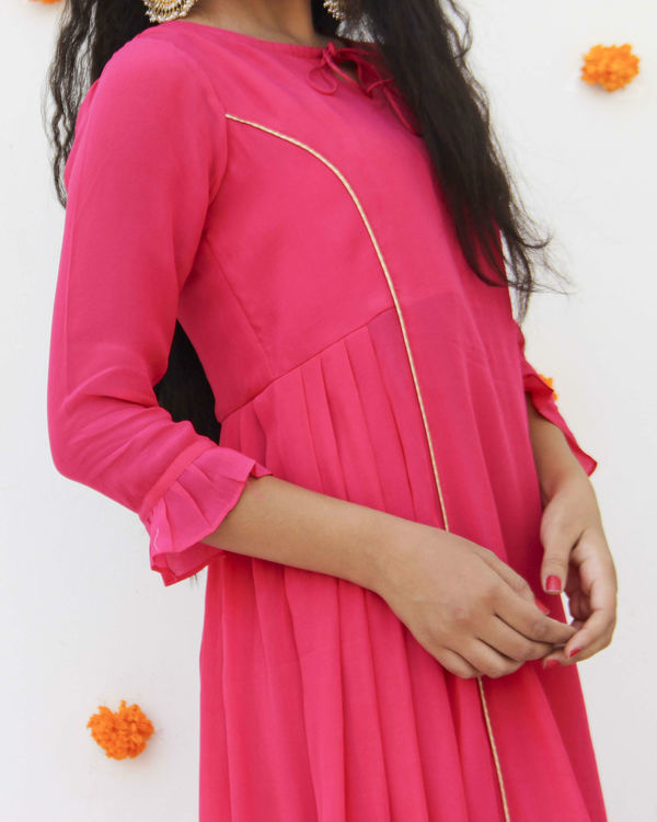 Fuchsia crepe suit set 2