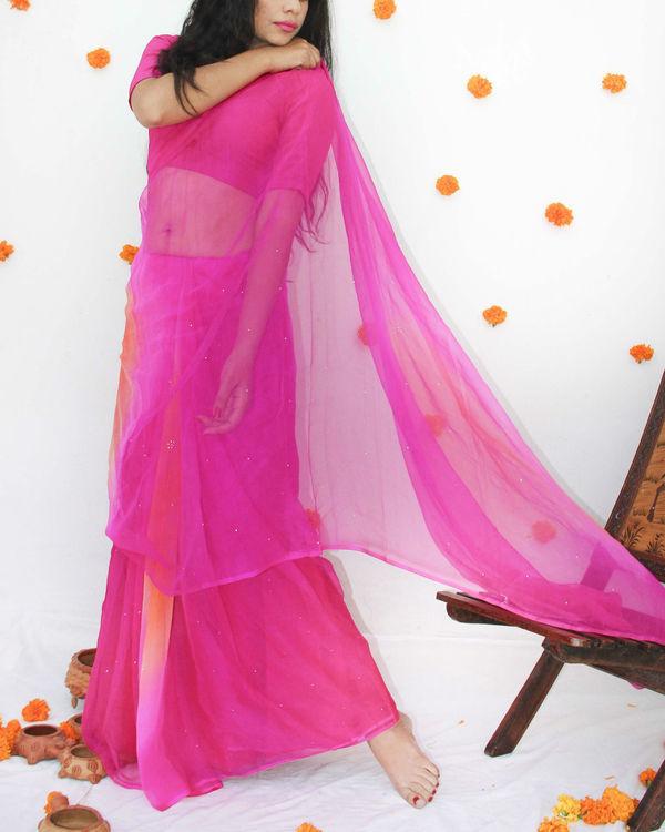 Pink orange georgette sari 1