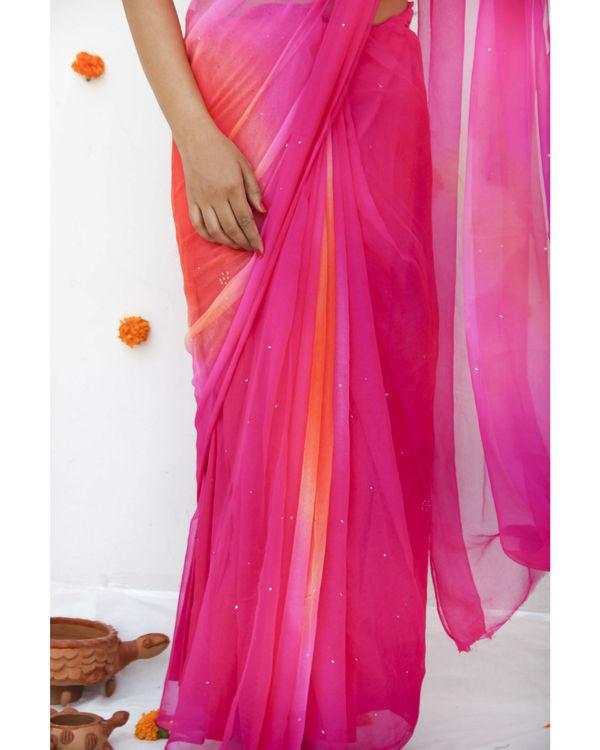 Pink orange georgette sari 2