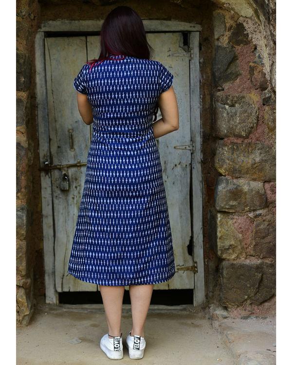Navy asymmetrical ikat dress 2
