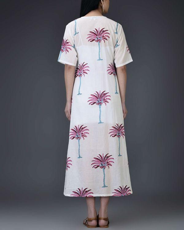 Pink palm wrap dress 1
