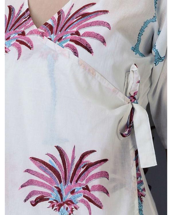 Pink palm wrap dress 2