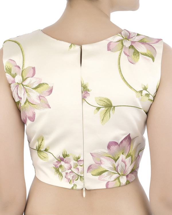 Foral embroidered satin crop top 3