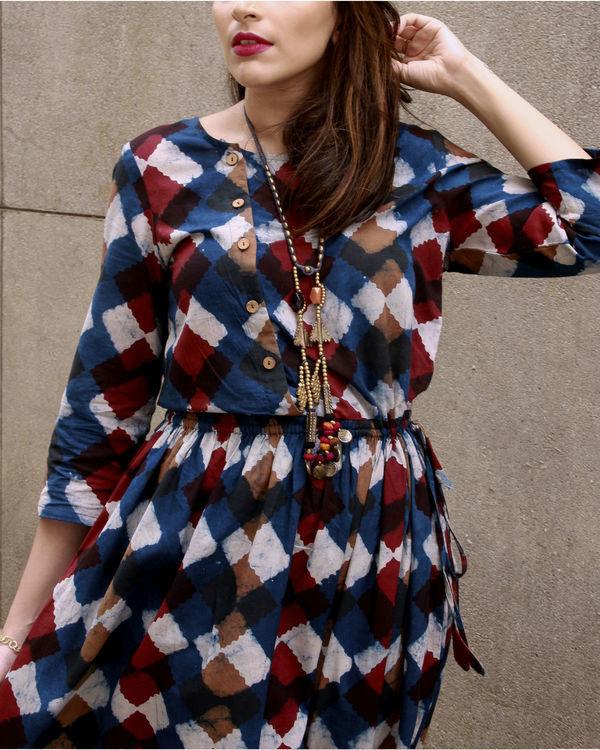 Indigo classic block dress 1