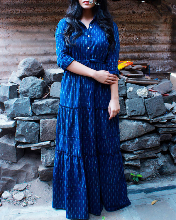 Indigo ikat shirt dress 1