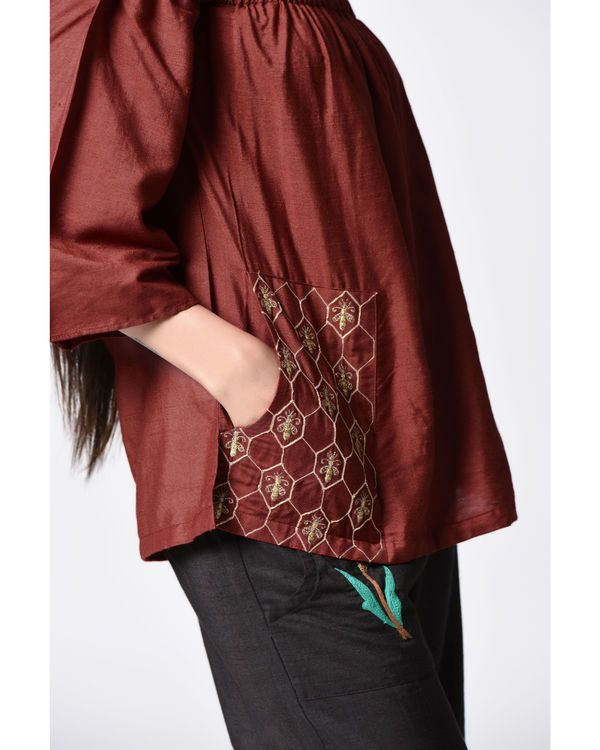 Marsala embroidered top 2
