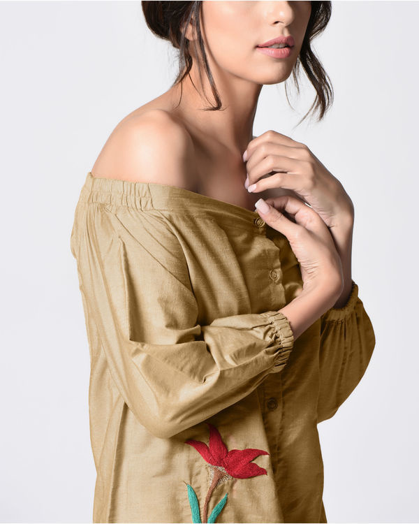 Beige off shoulder shirt 1