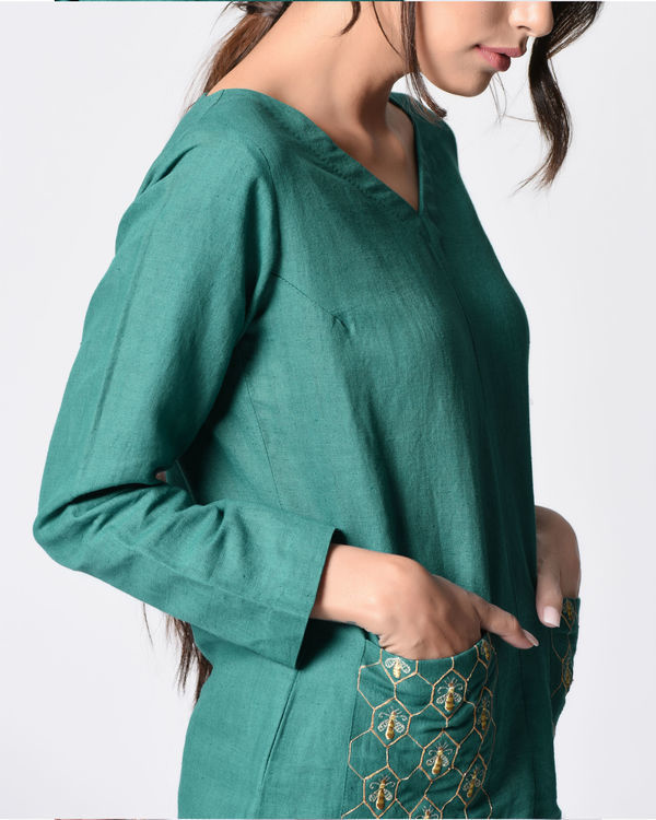 Teal embroidered top 1
