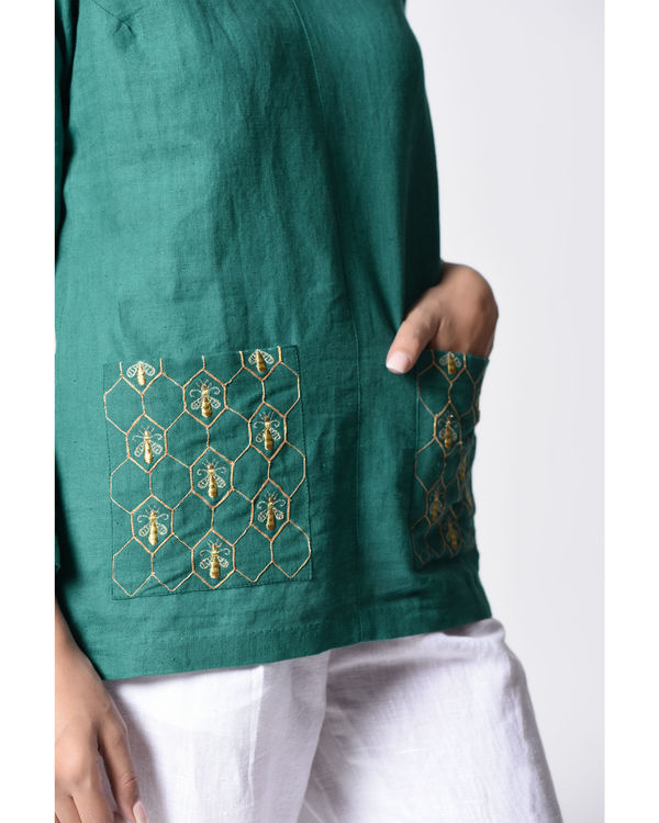 Teal embroidered top 2