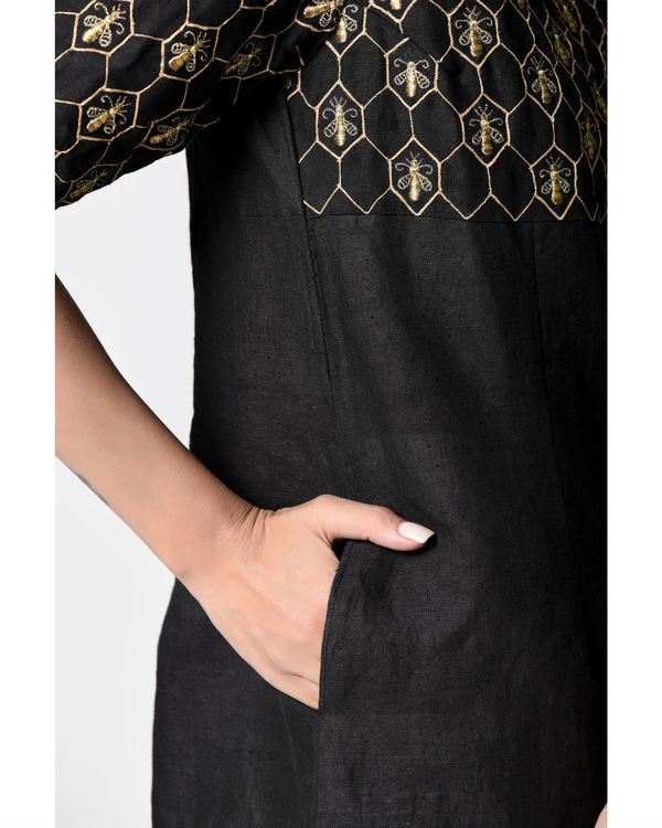 Black embroidered peplum top 2