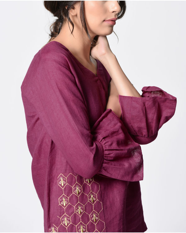 Plum embroidered bell top 1