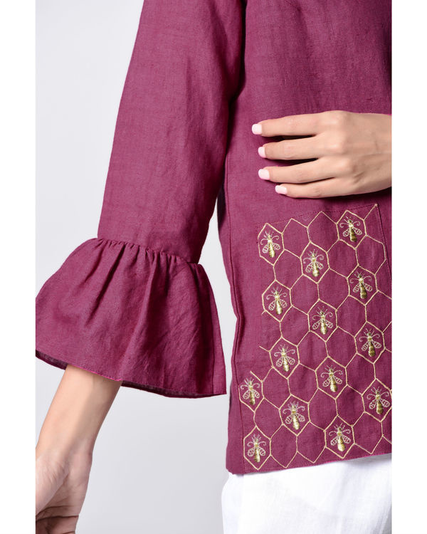 Plum embroidered bell top 2