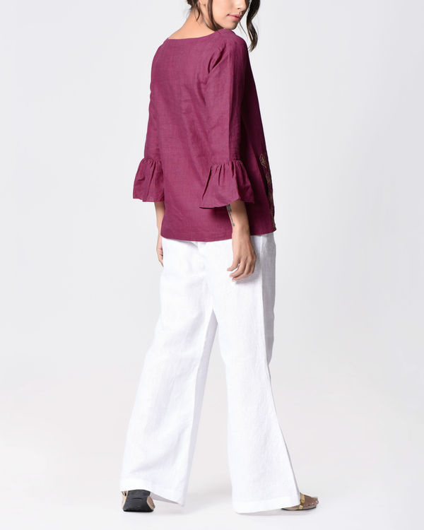 Plum embroidered bell top 3