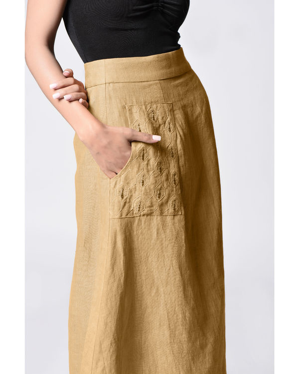 Beige embroidered wrap skirt 1