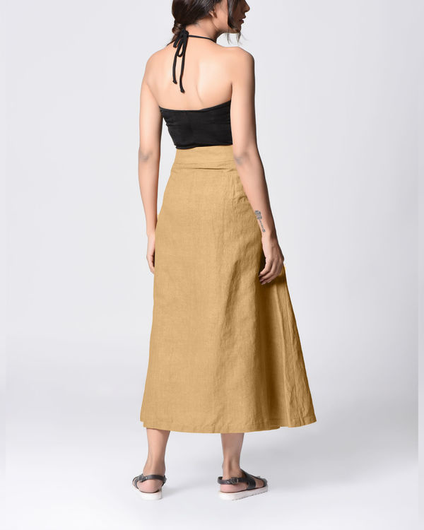 Beige embroidered wrap skirt 2