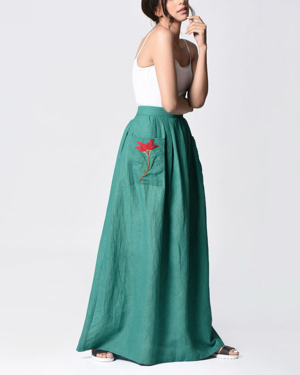 Teal embroidered skirt 2