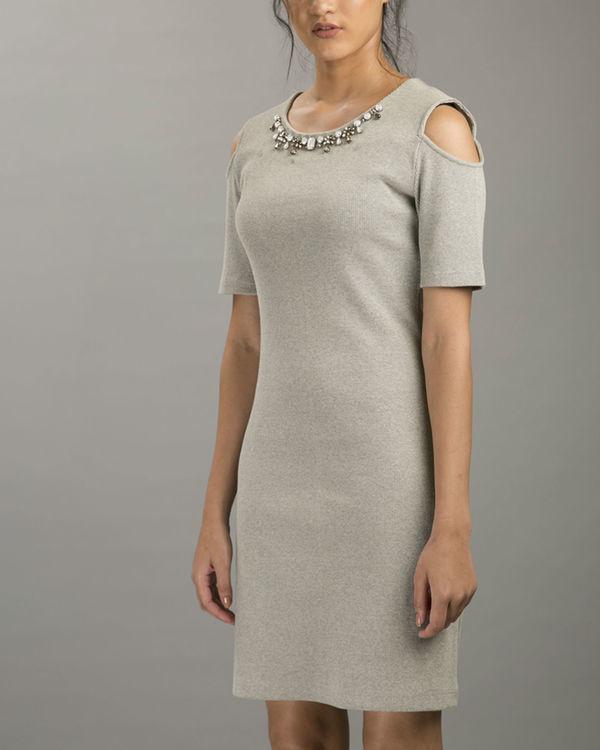Melange cold shoulder dress 1