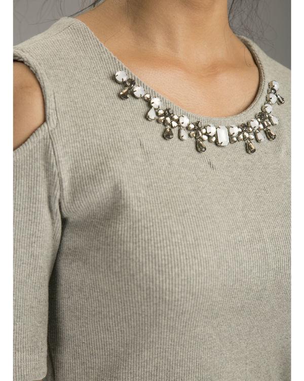 Melange cold shoulder dress 2