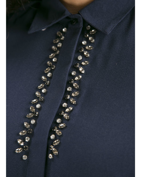 Navy embellished shirt 1
