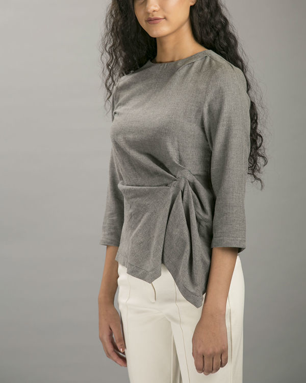 Charcoal layover blouse 1