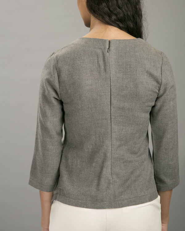 Charcoal layover blouse 3