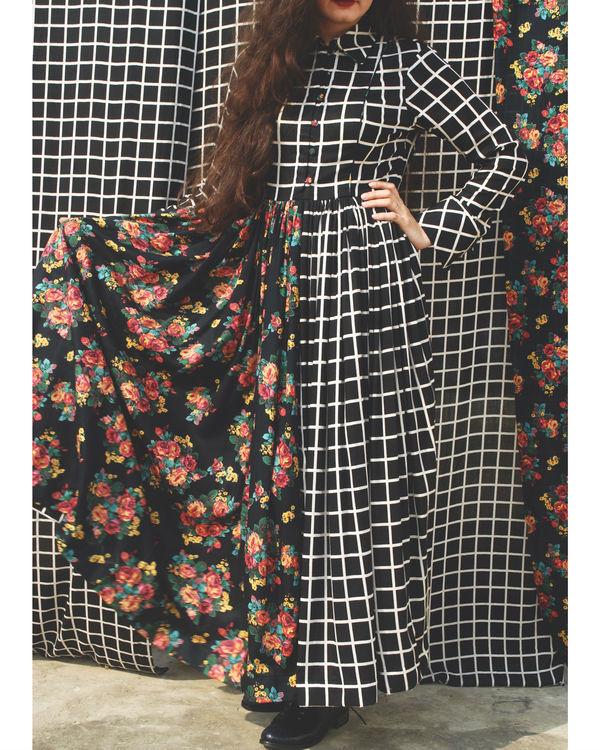 Floral grid shirt dress 2