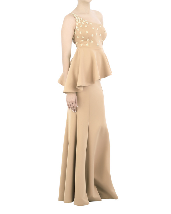 Neoprene off-shoulder gown with floral applique bodice 2