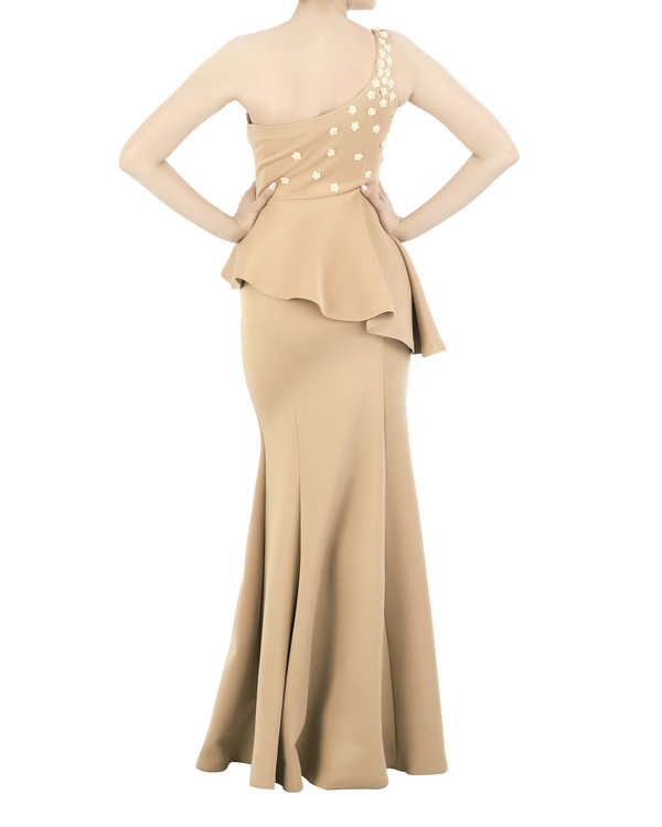 Neoprene off-shoulder gown with floral applique bodice 3