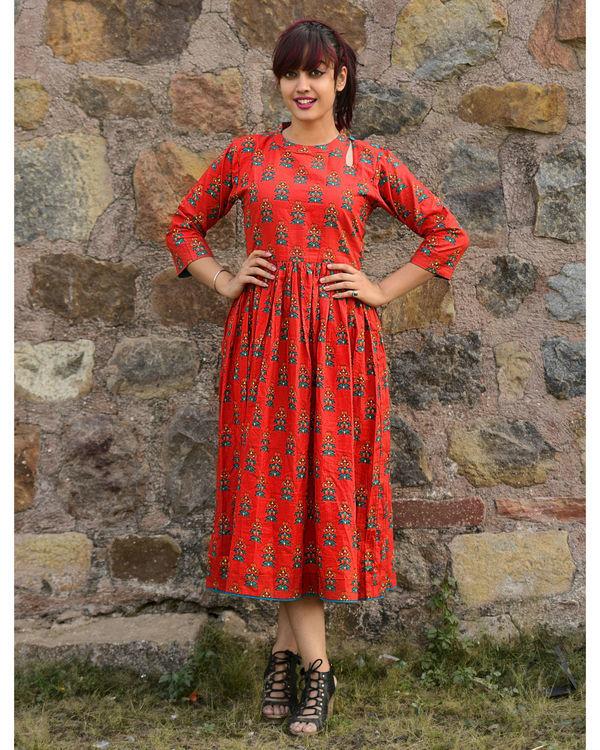 Red phoolbuti dress 1