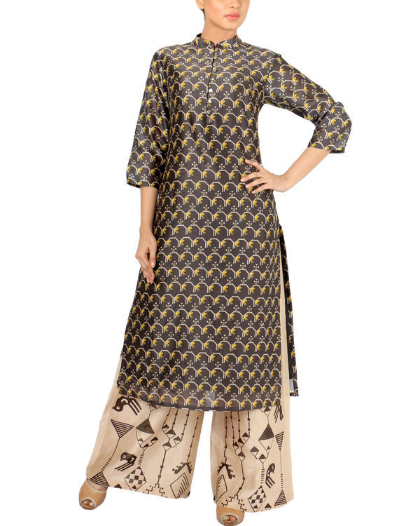 Black beige kurta set 1
