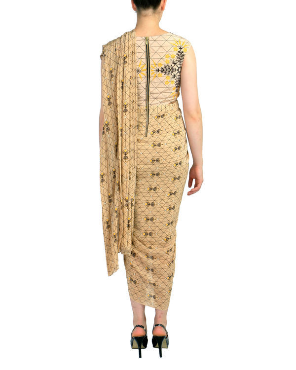 Beige geometric predraped saree 1
