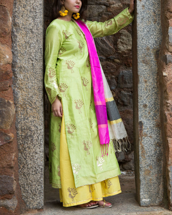 Green foil kurta set 1