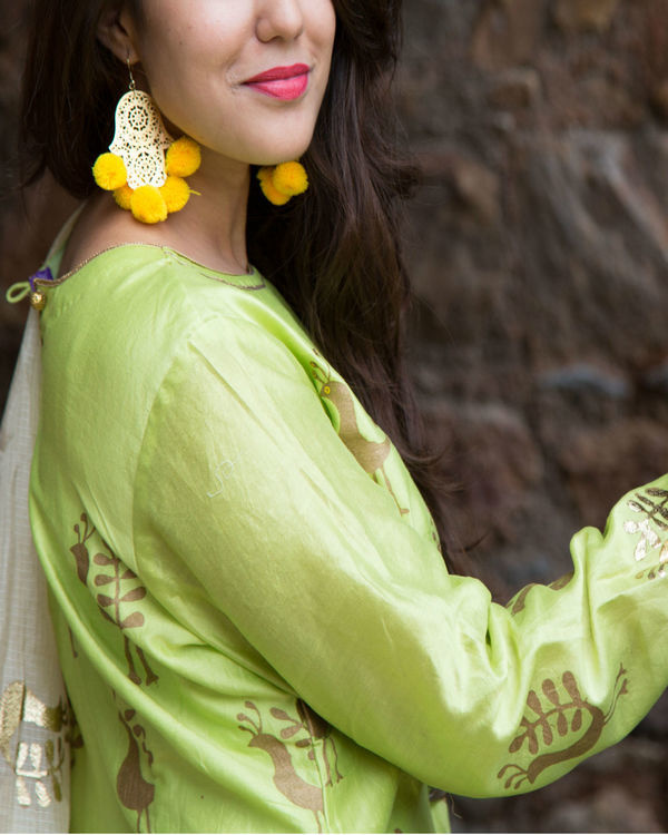 Green foil kurta set 3