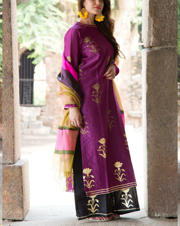 Purple foil kurta set 1