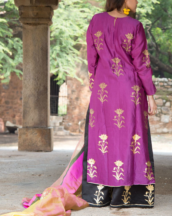 Purple foil kurta set 2