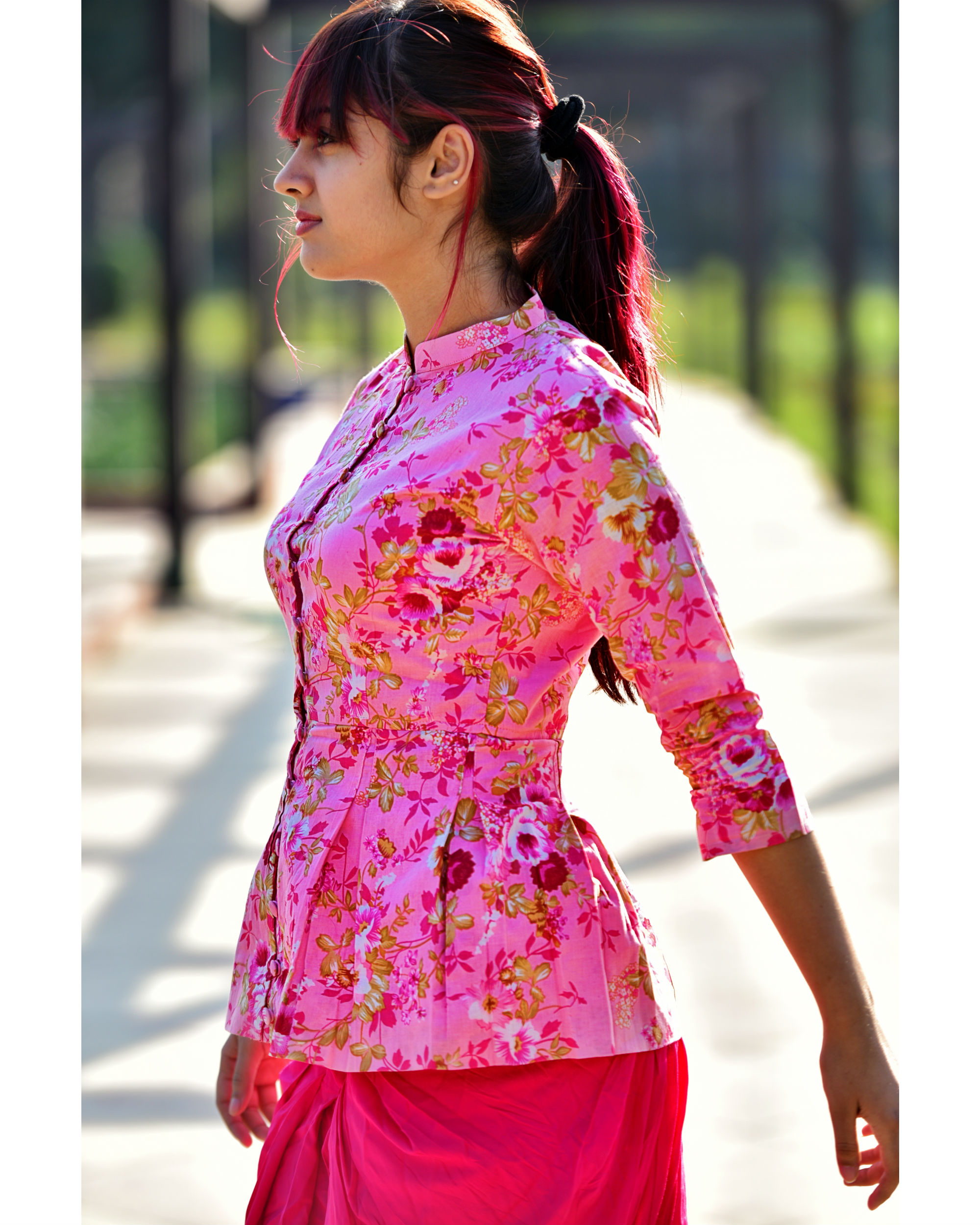 Pink Floral Peplum Top By Desi Doree The Secret Label