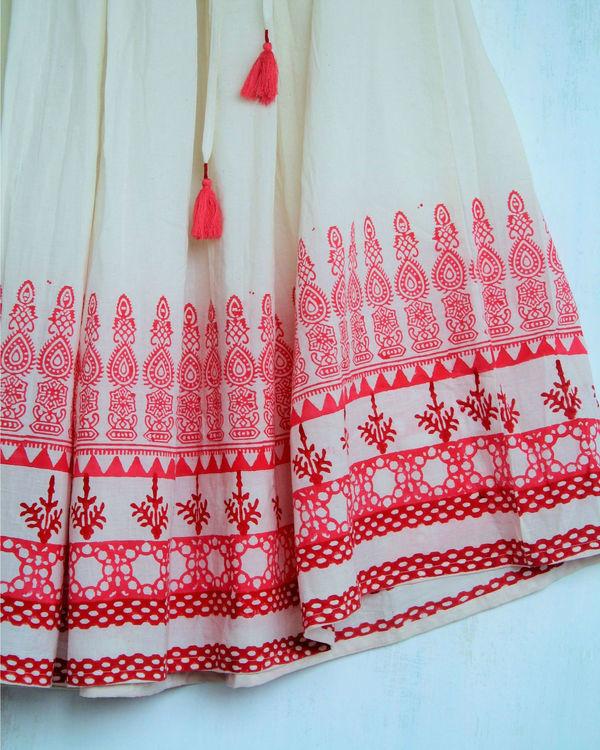 Ivory red long skirt 1