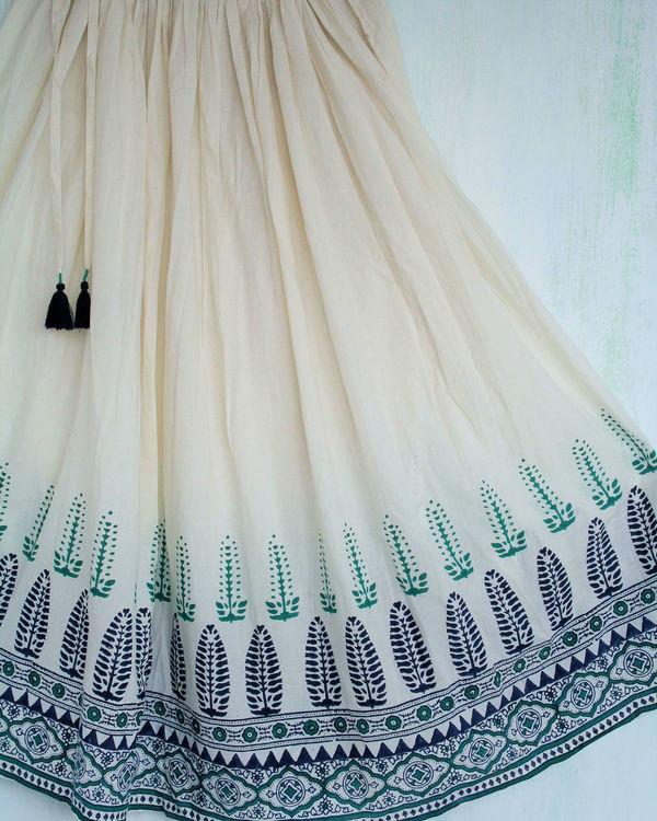 Ivory green long skirt 1