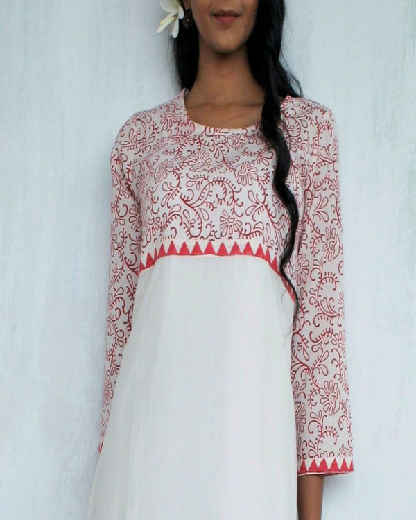 Ivory red flared dress 1